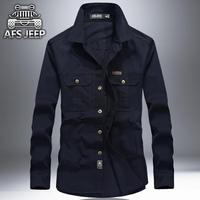 Plus Size 6XL Men Shirt Original Brand AFS JEEP Bust 140cm Denim 100 Cotton Camisas H