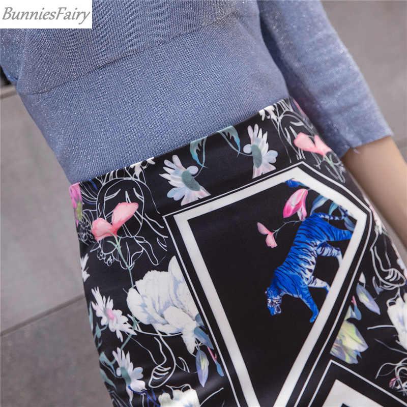 BunniesFairy 2019 lato jesień Sexy kobiety Celebrity tygrysy zwierząt kwiaty kwiatowy Print czarny wysokiej talii spódnica ołówkowa Slim Tube