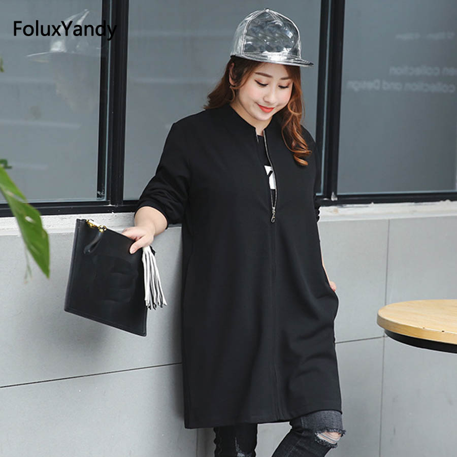 5 XL Plus Size   Trench   Coat for Women New Casual Loose Long   Trench   Black Outerwear Black FH30-353