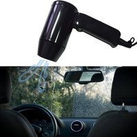12V Portable Black Hot Cold Folding Camping Hair Travel Car Dryer Window Defroster Car Styling Cigarette