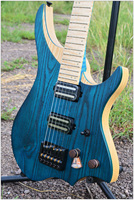 NK Headless Electric Guitar steinberger style Model Blue Color Flame maple Neck in stock Guitar free shipping