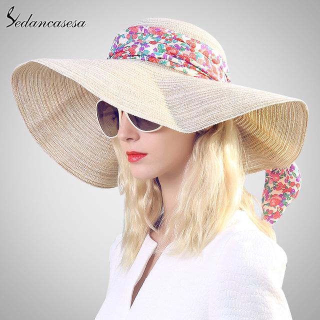 Sedancasesa estilo caliente de gran sombrero de paja de ala de las mujeres niñas sombrero para el sol sombrero de moda protección uv playa de verano arco sombrero de vacaciones 57 cm SW012546