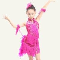 New Sequin Fringe Blue Pink Red Salsa Dress Child Girls Kids Tassel Latin Dresses Girls Latin
