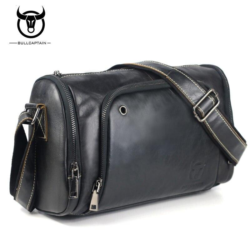 BULLCAPTAIN Märke Casual Men Väskor Äkta Läder Stor Kapacitet Man - Handväskor