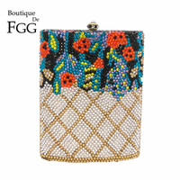 Boutique De FGG Wine Pot Rhinestones Clutch Flower Women Crystal Purse Evening Minaudiere Bags Wedding Party Cocktail Handbag