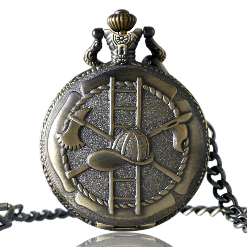 New Vintage Bronze 3D Firefighting Theme Bronze Quartz Fob Pocket Watch With Chain Gift For Firefighters