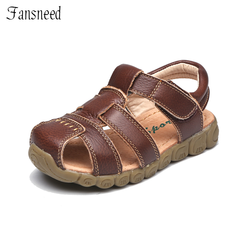 Children Shoes Genuine Leather Cowhide Sandals Half Hole Single Shoes Casual Comfortable Summer Paternity Style