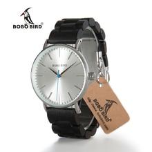 Designer BOBO BIRD Men s Watches LO15 O16 Ultra Thin Quartz Wooden Hour Luxury Silver Dial