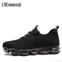 Otoño zapatos casuales zapatos de hombre lleno de palma colchón de aire zapatos netos de tela transpirable ocio de los hombres