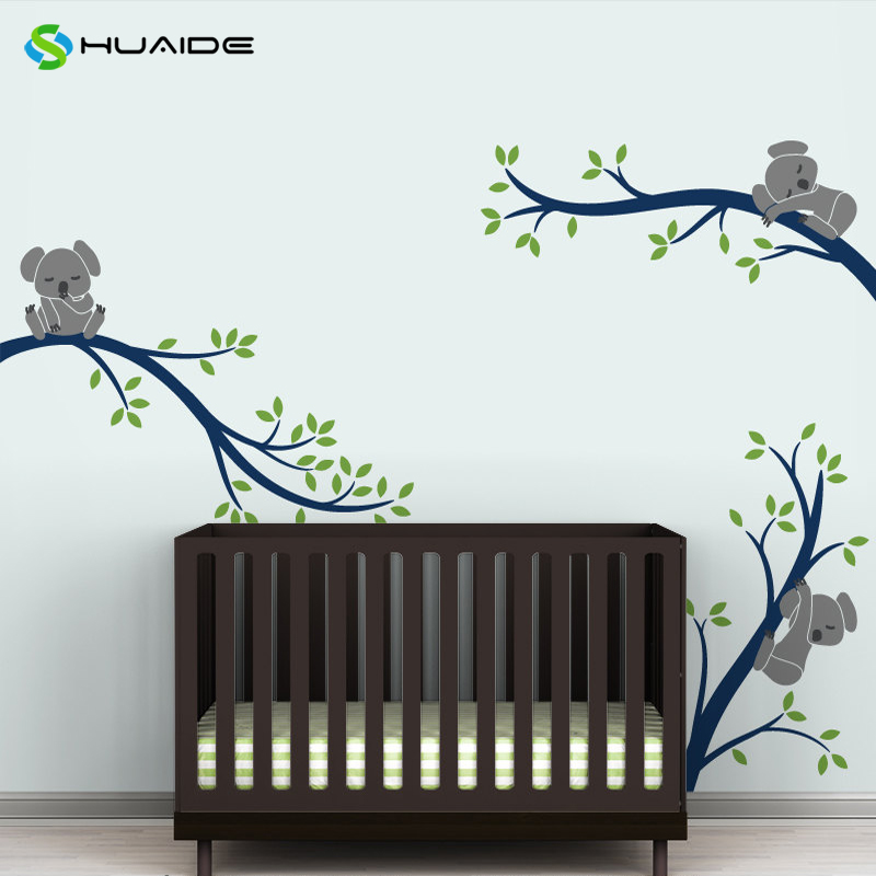 Koala tree branches baby nursery wall decal pastel colors for Baby nursery wall mural