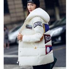 New2016 зимняя куртка плюс размер женщин печати парки duck down loose fit пальто средней длины pathchwork snowear шинель зимнее пальто