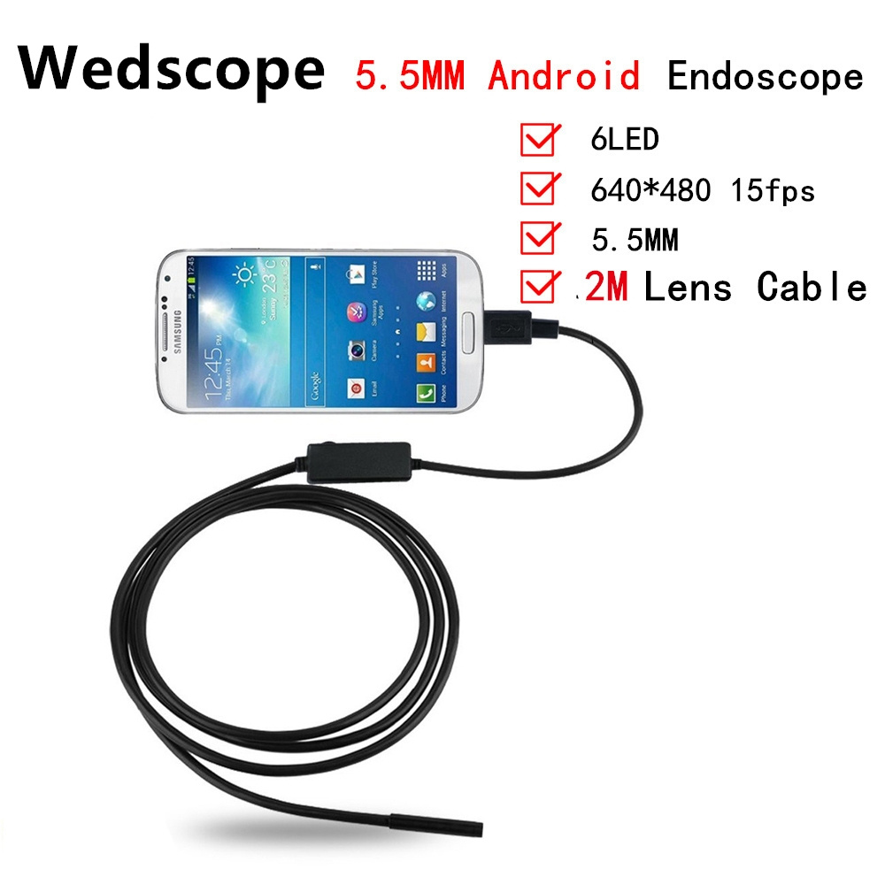 Endoscope Camera Borescope USB Android Inspection Camera HD 6 LED 5.5mm Lens 720P Waterproof Car Endoscopio Tube mini Camera 2M 7mm lens mini usb android endoscope camera waterproof snake tube 2m inspection micro usb borescope android phone endoskop camera