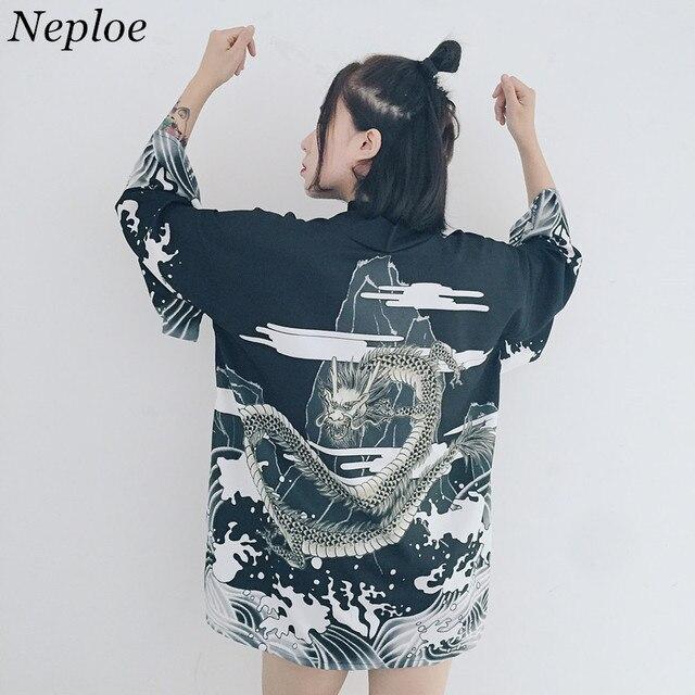 2cffdc12228 US $13.73 |Neploe Japanese Kimono Vintage Dragon Printed Harajuku Kimono  Shirts White Black Women Long Cardigan Loose Blusa Shirts 34045-in Blouses  & ...