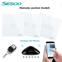 EU UK Standard SESOO 1gang 2gang 3gang Wireless Remote Control Light Switches Smart Home RF433 Remote