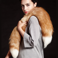 Women Natural Fox Fur Collar Scarves Scarf Wrap Cape Scarves Stole Winter Shawl Real Fox Scarves