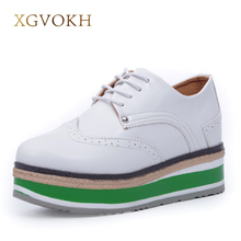 XGVOKH Brand Fashion Women Shoes Lace-up Female Flat Platform Shoes Height Increasing informal Flats
