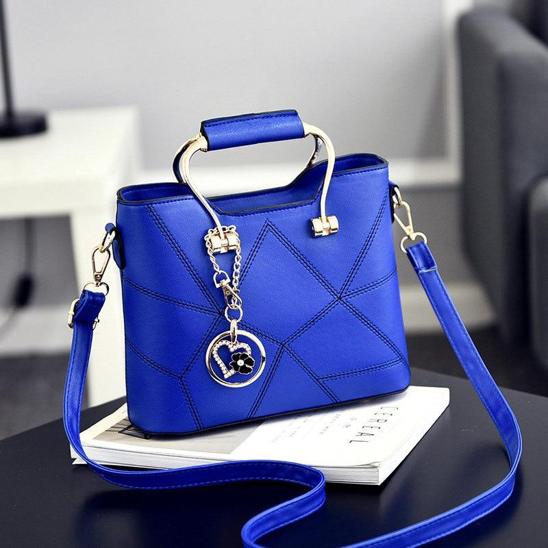 Fashion Blue PU Women Handbag Metal Handle Office Lady Shoulder Bag Heart Flower Pendant Crossbody