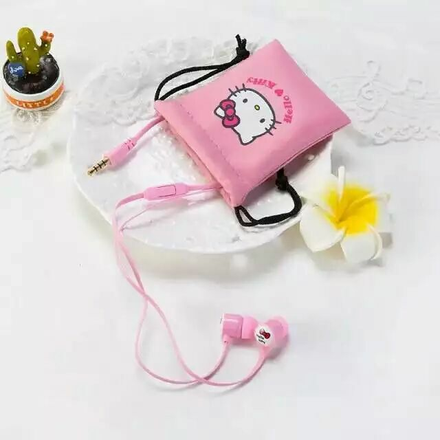 Good Gift Cartoon Earphone Hello Kitty Wired 3.5mm In-ear Plug Headphones For MP3 MP4 For iphone Samsung Xiaomi For Girls