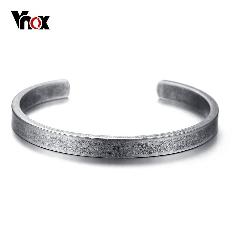 Vnox Vintage Viking Cuff Bracelet & Bangle for Men Women Simple Classic Pulseras hombre Stainless Steel Male Jewelry