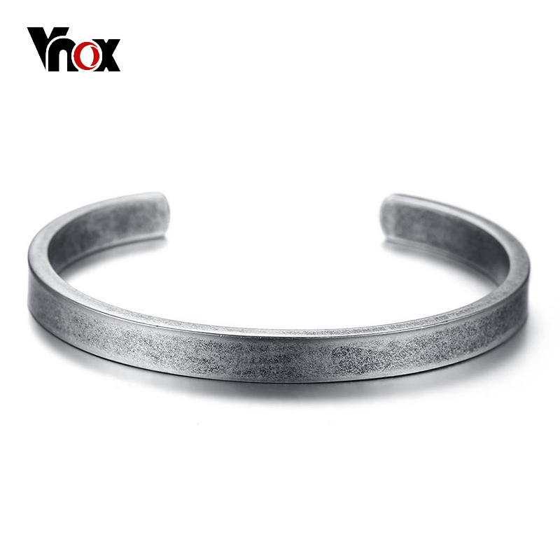 все цены на Vnox Vintage Viking Cuff Bracelets Bangles for Men Women Simple Classic Pulseras hombre Stainless Steel Male Jewelry онлайн