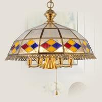 European Chandelier Chateau Dining Retro Southeast Asian Brass Multicolor Glass Chandelier Pastoral Mediterranean ZA626 ZL155