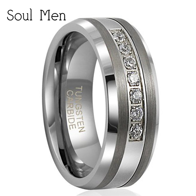 Mens Wedding Bands With Diamonds.Us 17 09 10 Off Aliexpress Com Buy 8mm Unisext Tungsten Carbide Anniversary Ring With 7 Brilliant Cz Diamonds Inlay Mens Wedding Band Come With