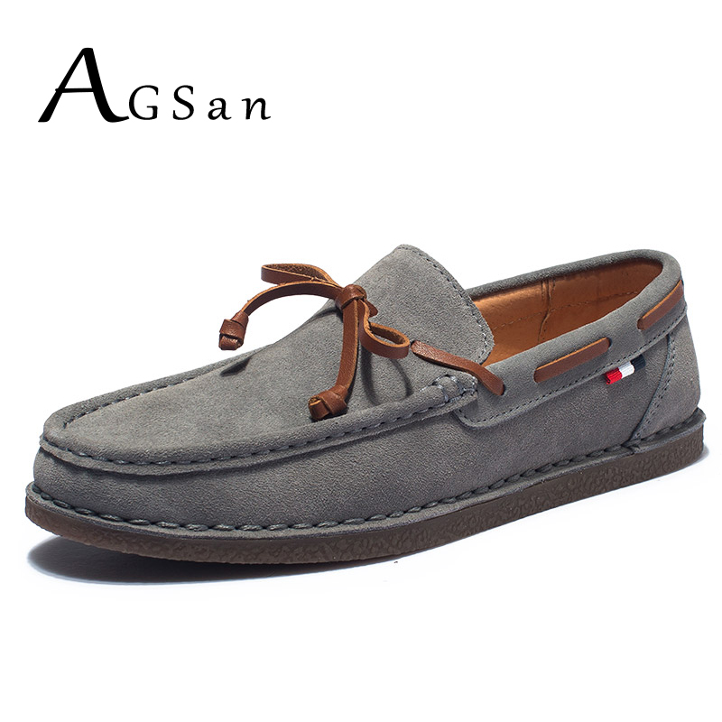 где купить AGSan Genuine Leather Men Casual Shoes Tassel Boat Shoes Classic Loafers Slip On Moccasins Gray Driving Shoes England Flats по лучшей цене