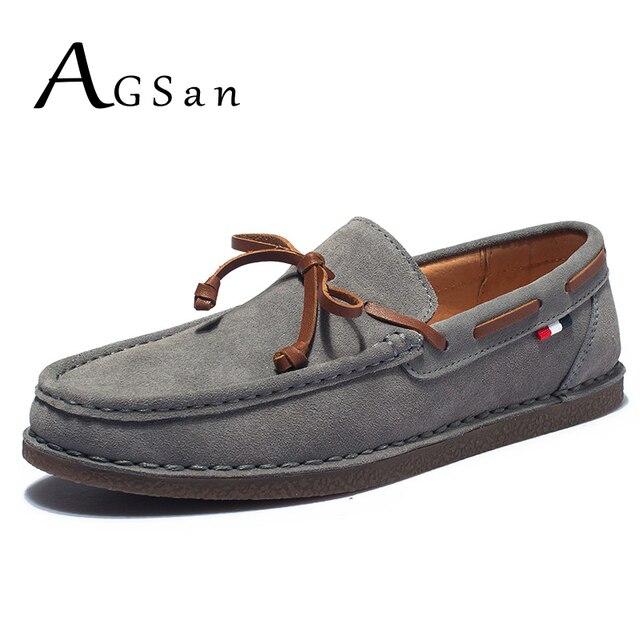 AGSan cuero genuino hombres zapatos casuales borla zapatos del Barco clásico mocasines deslizamiento en mocasines gris conducción Inglaterra pisos