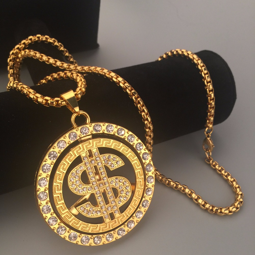 New 24K Golden Iced Out Bling rotate Usd Money Charm Hip Hop Mens