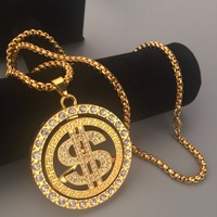 New 24K Gold Plated Iced Out Bling Rotate Usd Money Charm Hip Hop Mens Jewelry Dollar