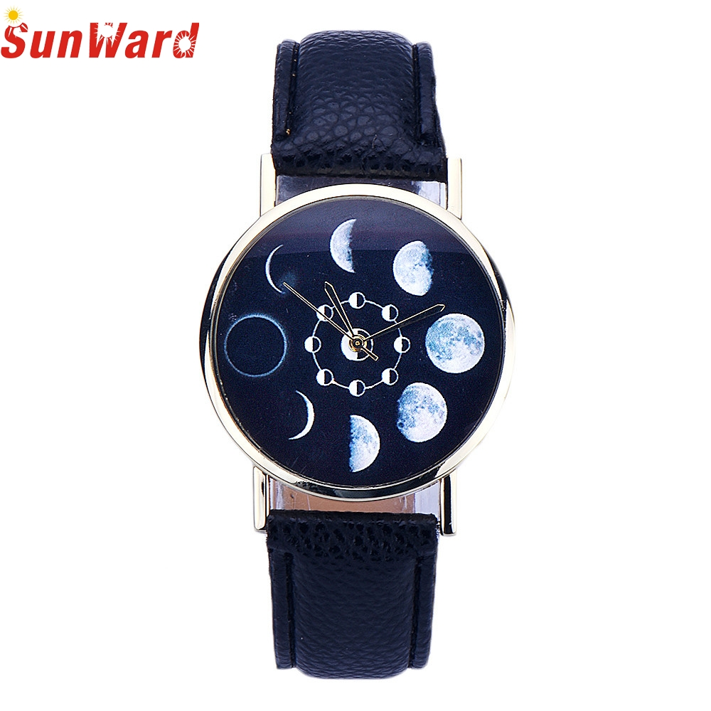 Miracle Moment Design Women Lunar Eclipse Pattern Leather Analog Quartz Wrist Watch business gifts Levert Dropship Feb27
