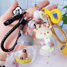 Cute Cartoon My Neighbor Totoro Pig Doll Keychain LED Key Chain Pendant For Women Bag Purse Charms Car Pendant Accessory Keyring(China)
