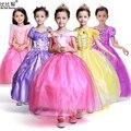 3-10 Anos de MENINA Vestido de Renda Top Qualidade Princesa Da Bela Adormecida Traje Amarelo Princesa Belle Vestidos para a Festa de Meninas traje