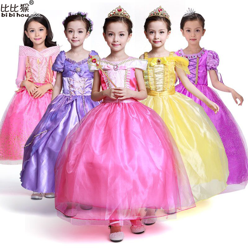 3-10 Years GIRL Dress Lace Top Quality Sleeping Beauty Princess Costume Yellow Princess Belle Dresses for Girls Party Costume girls dress girl top quality dresses 100