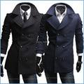 Alta calidad a estrenar cachemira abrigo de invierno abrigo de hombre ocasionales adelgazan la capa de foso larga Parkas hombre