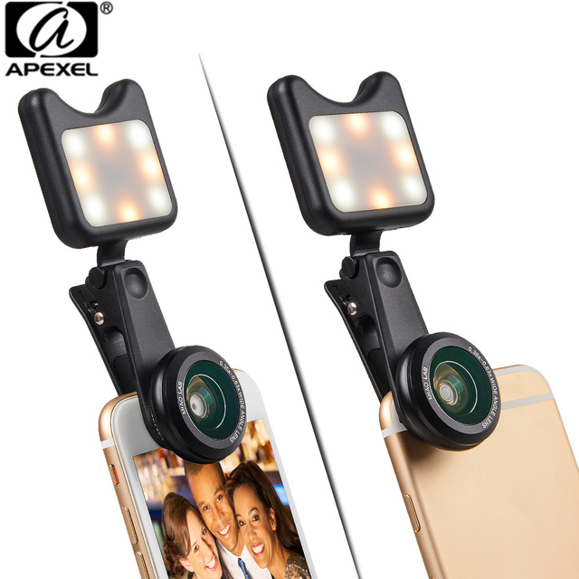 APEXEL 3 in 1  phone camera lens wide macro lens + Led Fill light Lens Selfie Lentes for iPhone Lens for android ios smartphone