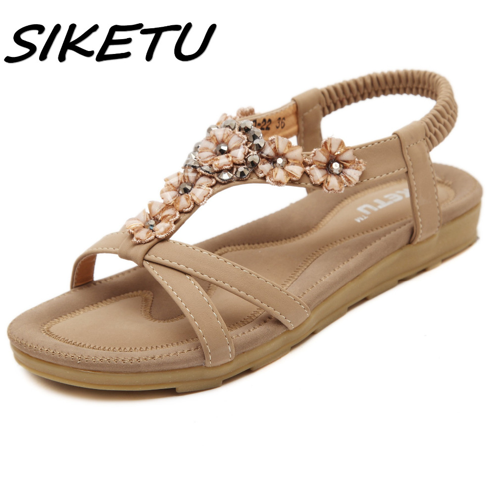 SIKETU Women Sandals Summer 2018 Gladiator Shoes Woman Flat Casual Bohemia Crystal Flower Open Toe Girls Ladies Beach Sandals instantarts women flats emoji face smile pattern summer air mesh beach flat shoes for youth girls mujer casual light sneakers