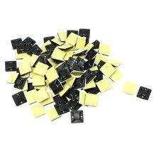100 шт. самоклеющиеся Кабельные стяжки Держатель основания 20x20x6 мм