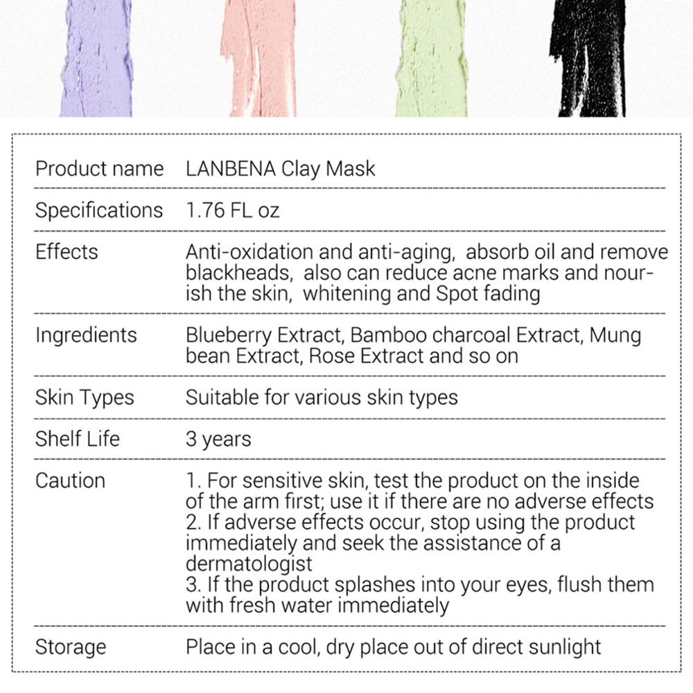 LANBENA 1PC Mung bean Bamboo Charcoal Blueberry Rose Clay Mask Moisturizing Pores Nourishing Deep Cleaning Remove Washable Mask in Treatments Masks from Beauty Health