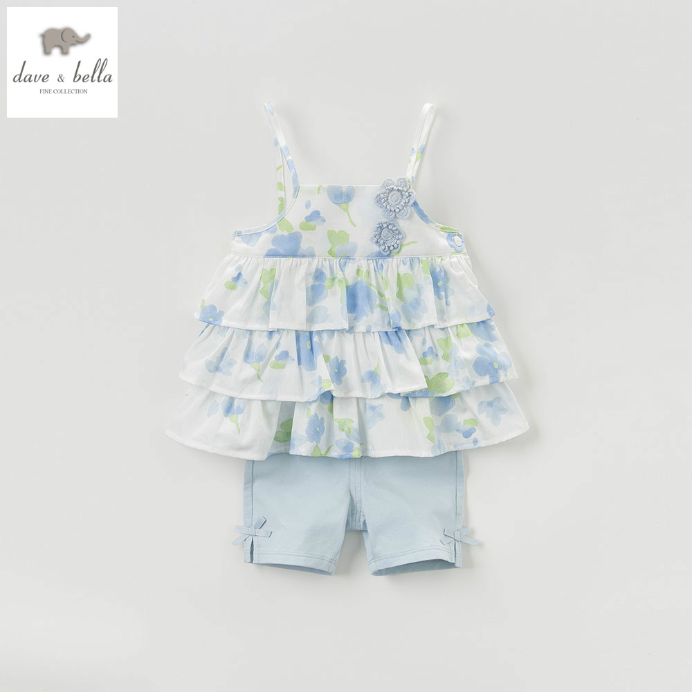 DB5148 dave bella summer baby girls clothing sets child lovely sets kids toddle cloth baby fancy clothes children chothing sets