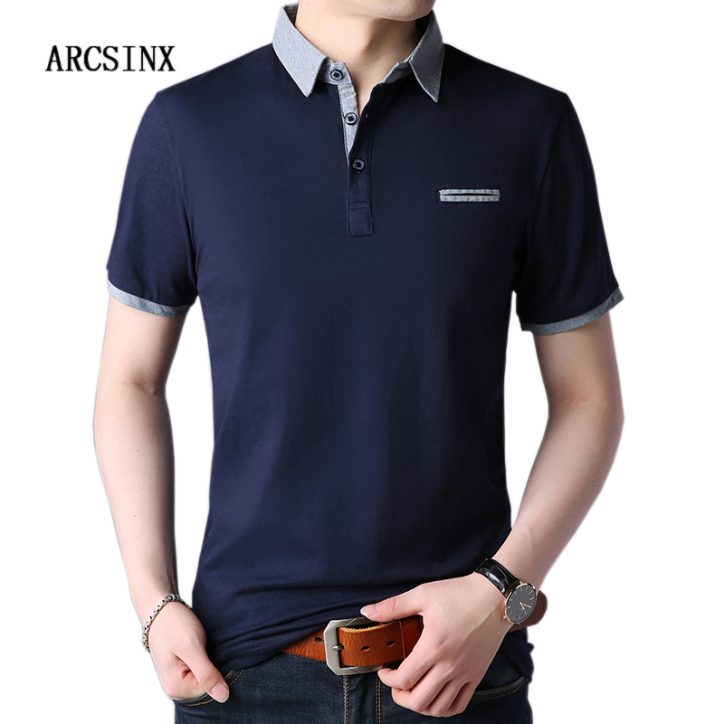 ARCSINX Brand Polo Shirt Men Short Sleeve 5XL 4XL Cotton Summer Mens Polo Shirts Casual Tee Shirt Men Fashion Big Size Men Polos
