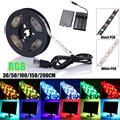 Waterproof IP65 Dimmable 30/50/100/150/200CM RGB LED Strip Light 5050 SMD Battery Power USB TV Background Lighting