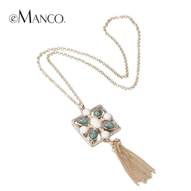 Emanco геометрическая долго ожерелье камень кисточка позолоченные цепь кисти ожерелья для женщин кратким ювелирных изделий бижутерии роковой