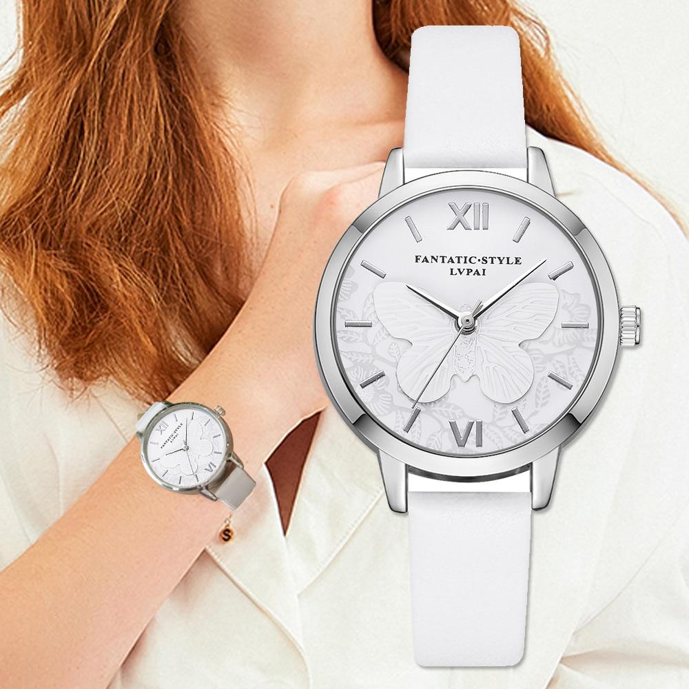 Lvpai Brand Butterfly 3D Ladies Dress Watches Silver Women Fashion White Leather Bracelet Colcks Wristwatch Relogio Feminino