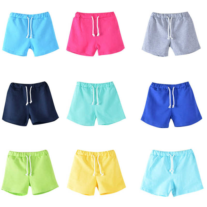 100% Cotton Kids Shorts Summer Boy Girl Candy Color Sport Casual Shorts 3-13Yrs Children Beach Pants Shorts Short Trousers