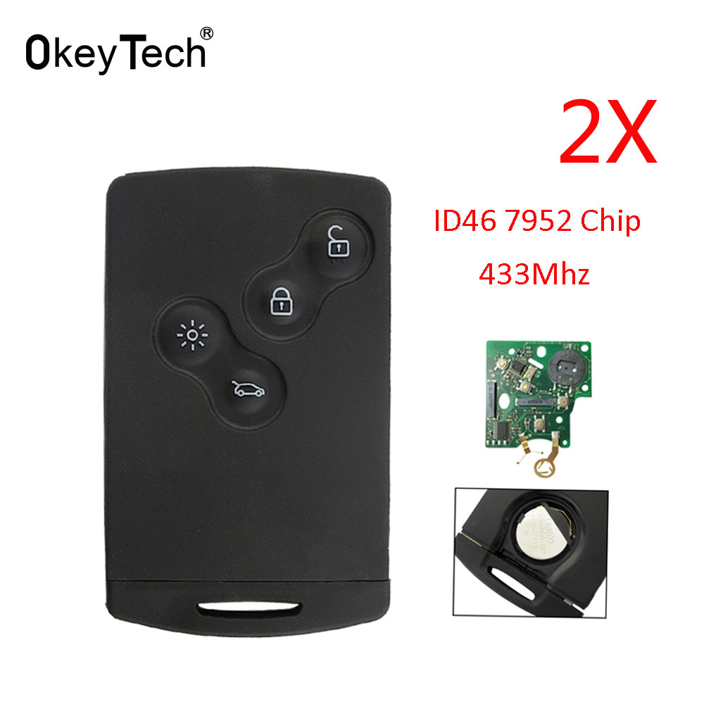 OkeyTech 2pcs/lot Smart Key Card for Renault Megane Scenic Laguna Koleos Clio Auto Remote Car Key 433mhz ID46 PCF7952 4 Buttons free shipping replacement new uncut remote key fob 4 button 433mhz pcf7952 for renault megane 2009 2014