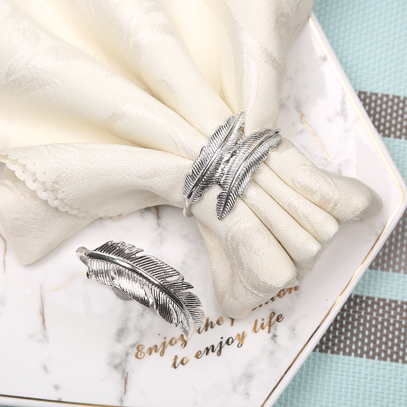10pcs Creative Alloy Silver Feather Napkin Buckle New Western Restaurant Napkin Ring Plating Towel Buckle Hotel Table Decora