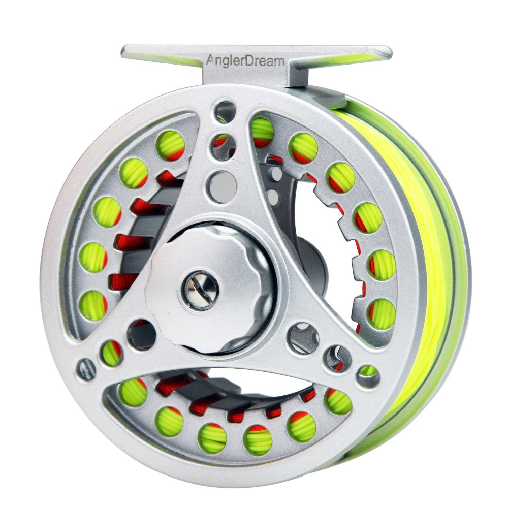 1/2/3/4/5/6/7/8 WT Fly Reel Combo Silver Large Arbor Aluminum Fly <font><b>Fishing</b></font> Reel with WF Fly Line Backing Line 9FT Tapered Leader