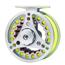 5/6/7/8 WT Fly Reel Combo Silver Large Arbor Aluminum Fly Fishing Reel with WF 5/8F Fly Line Backing Line 9FT Tapered Leader