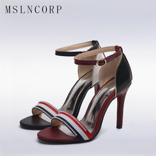 Plus Size 34-44 Fashion Women Sandals Pumps Summer Brand Dress Rhinestone Thin High Heel Woman Party Wedding Shoes Zapatos Mujer